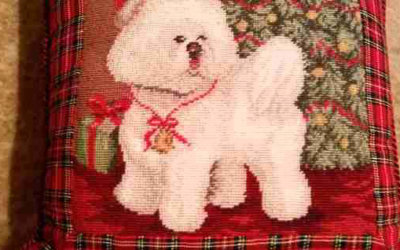 Bichon Christmas Needlepoint Pillow/Bichon Christmas Stocking Ornament/ Bichon Wall Clock/Bichon Picture Frame!