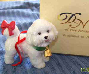 Last Day Of Our 2019 Holiday Auction For The Bichons!/New In Box Tail Wagging Bichon Clock/ Bichon with Teddy Ornament/ DNC Porcelain Bichon Ornament/Pam Byron's Bichon Pillow Set!